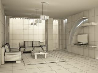 Interior design - 3d model wire