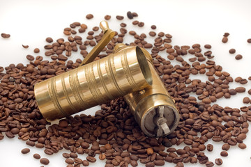 Coffee grinder with coffe beans