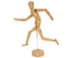 Wooden Artist dummy model against a white background poster