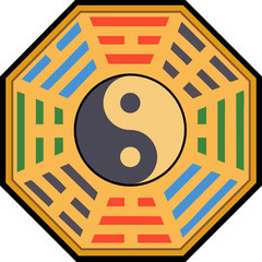 Vector Yin Yang and bagua illustration