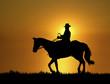 Leinwandbild Motiv Sunset Horse Ride 2