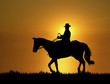 Leinwanddruck Bild - Sunset Horse Ride 2