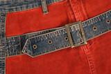 Corduroy clothing with denim belt poster