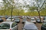 Grand parking sous les arbres poster