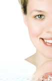 close-ups Half face girl looks in staff and widely smiles a whit poster
