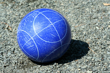 Close up of a blue bocce ball