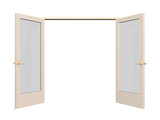 Open 3d door with glass inserts poster
