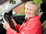 Fototapety Granny in a car
