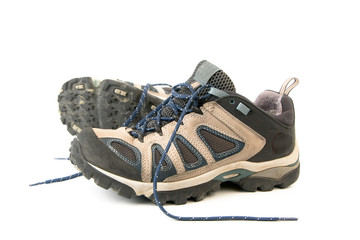 clothes hiking boots or shoes isolated