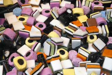 Close up of licorice all sorts sweets
