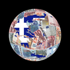 Greek map flag on euros