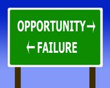 Opportunity failure sign symbol poster