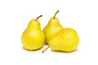 Three yellow pears isolated on the white