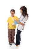 Nurse assisting an injured boy poster