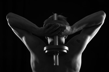 Man training with weight