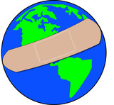 earth with bandaid covering it - healing global troubles  poster