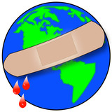 earth with bandaid with droplets of blood - global trouble  poster