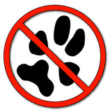 paw print with not allowed symbol - no pets allowed poster