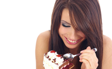 Pretty woman eating the cake.