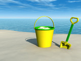 Bucket and spade on the beach poster