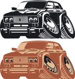 Vector silhouette cartoon car