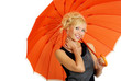woman with orange umbrella