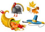 Thanksgiving Symbols icon set - four elements poster
