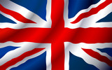VECTOR United Kingdom flag waving in the wind. poster
