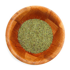 Rosemary herb dried in wooden dish