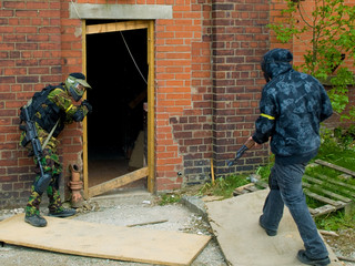 Military Men Attacking Doorway