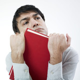 Man and red book