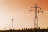 High voltage line ove sunset sky poster