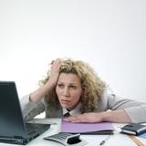 Depressed businesswoman poster