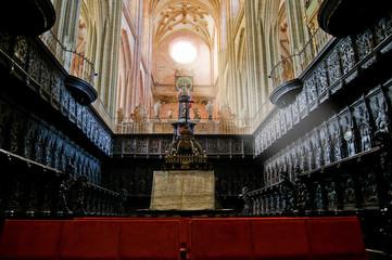 The Choir and Organ in Santa Maria Cathedal of Astorga. Spain