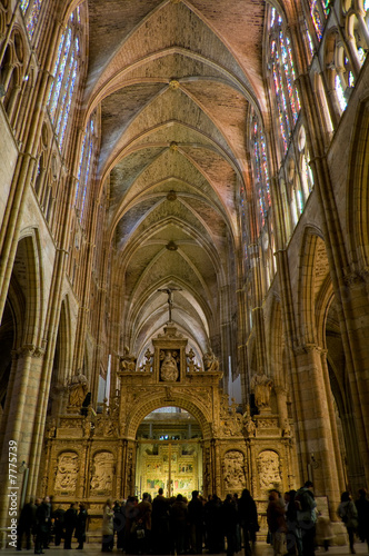 Central nave in Santa Maria de Leon Cathedral. Leon, Spain