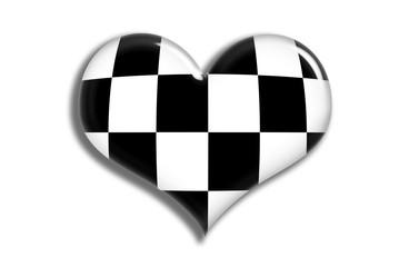 shiny heart checkered flag