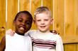 Leinwanddruck Bild - two friends playing outside