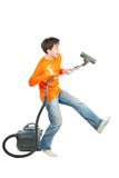 Man dancing with vacuum poster