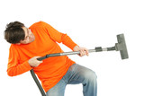 Man with vacuum cleaner poster