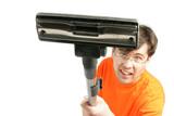 Man with vacuum closeup poster
