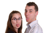 attractive young couple poke tongues out poster