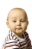 Cute six month old baby with humorous expression. poster