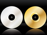 Reflected platinum and gold discs poster