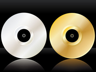 Reflected platinum and gold discs