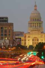 Austin, Texas - View of Captial with Steet Traffic