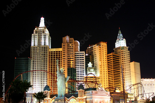 Skyline with Light on in Las Vegas, USA
