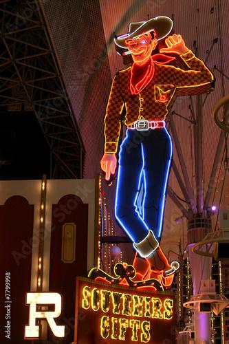 Fotobehang Las Vegas Cowboy Neon Sign in Las Vegas, USA