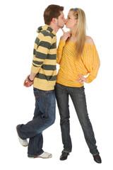 happy boy kissing a nice girl