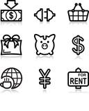 Black contour web icons, set 24 poster