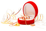 Close up of wedding bands over white background (series Holiday,